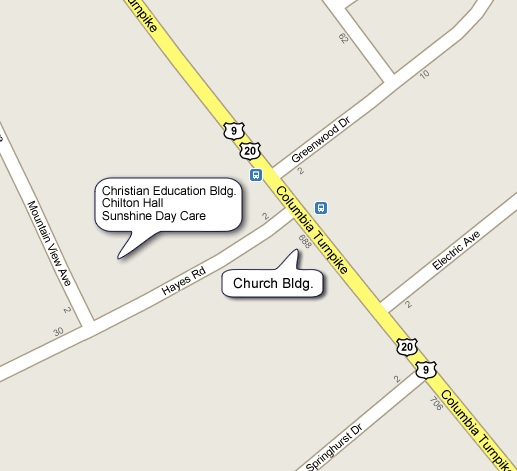 Map with the Greenbush Reformed Church location at 688 Columbia Turnpike, East Greenbush, NY.